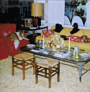 """Doris's cozy living room with some of the """"kids,"""" the dogs she loved."""